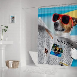 HIPSTER DOG LOOKING DAILY DOG NEWPAPER SHOWER CURTAIN