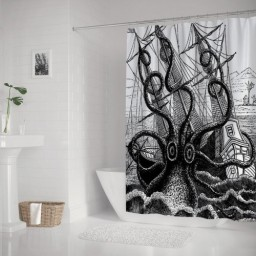Kraken Octopus Tentacles with Ship Sail Old Boat in Ocean Waves, Cloth Fabric Bathroom Decor Set with Hooks