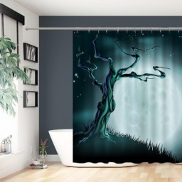 Blue Halloween Moon Tree Background Polyester Shower Curtain