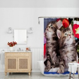 Merry Christmas Lovely Cute Kitten Bathroom Decoration Waterproof Polyester Fabric Shower Curtain