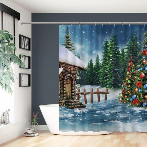 Merry Christmas Tree Bathroom Decoration Waterproof Polyester Shower Curtain