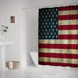 Vintage American Flag Background Waterproof Polyester Shower Curtain