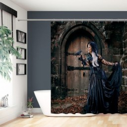Fantasy Girl Fantasy Art Witch Black Dress Dyed Hair Polyester Shower Curtain