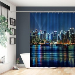 Urban Manhattan Skylinescape Night Lights Buildings Polyester Fabric Shower Curtain