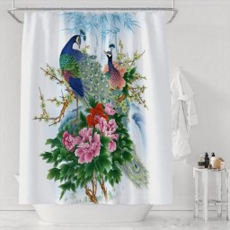 Peacock Paiting Design Waterproof Polyester Shower Curtain