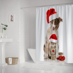 Christmas Cute Dog and Cat Waterproof Polyester Shower Curtain Set