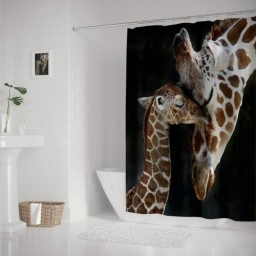 Baby Giraffe With Mom Bathroom Decoration Waterproof Polyester Shower Curtain