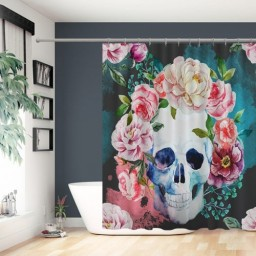 Funny Skull with Colorful Floral Head Victorian Style Dead Skeleton Graphic Art Print Cloth Fabric Bathroom Decor Set with Hooks