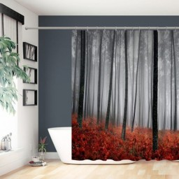 Generic Mystic Woods Trees Forest Print Fabric Bath Shower Curtain With Hooks