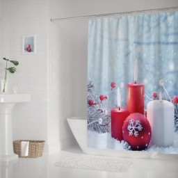 Holiday Candles Burning Pine Christmas Balls Snow Shower Curtains