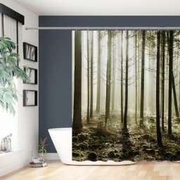 Misty Forest Tree Shower Curtain Fabric Bathroom Decor Set with Hooks