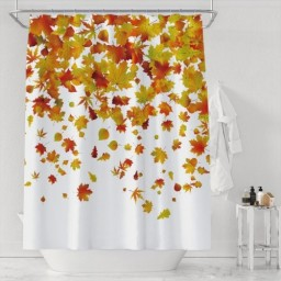 Happy Thanksgiving Autumn Falling Maple Leaves Polyester Fabric Shower Curtain Bathroom Festival Decor