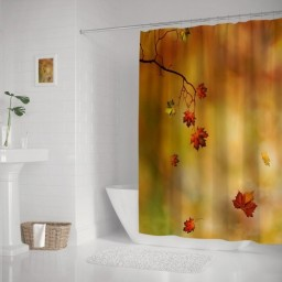 Autumn Maple Leaf Waterproof Polyester Shower Curtain and Hooks