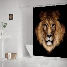 Black Lion King Waterproof Polyester Bathroom Shower Curtain