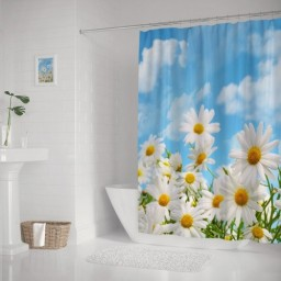 White Daisy Flower Plants Blue Sky Bathroom Shower Curtains Decor Design Set with Rings