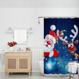Father Christmas Shower Curtains Xmas Santa Claus and Lovely Deer Decor for Bathroom