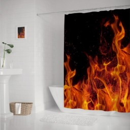 Polyester Waterproof Simple and Cool Flame Shower Curtain Fabric Bathroom Decor