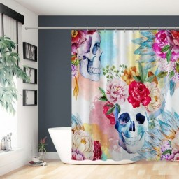 Skulls Decorations Collection Colorful Pattern with Skull Headdress Ornament Portrait Wild Watercolor Effect Shower Curtain