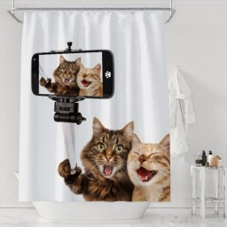 Cute Cat Funny Animal Mobile Phone Selfie Bathroom Decor Background Waterproof Polyester Shower Curtains