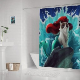 Funny Fat Mermaid in The Fish Tank Shower Curtain