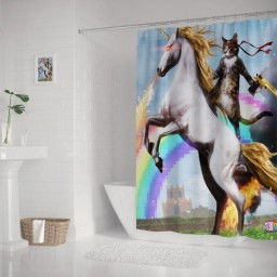 Funny Fitting Cat Ride Fire Horse Shower Curtain