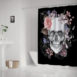 Day Of The Dead Skull With Flowers Waterproof Shower Curtain Decor
