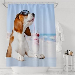 Dog Drinking On The Beach Waterproof Shower Curtain Decor