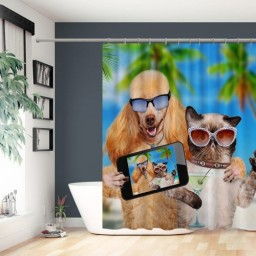 Funny Dog and Cat Waterproof Mildew Resistant Bathroom Shower Curtain Set for Home