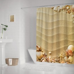 Nautical Composition with Sandy Beach Frame Surrounded by Various Sea Shells, Cloth Fabric Bathroom Decor Set with Hooks