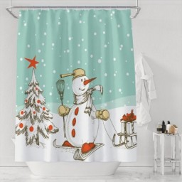 Christmas Snowman Celebrating Holidays Kids Digital Art Shower Curtain