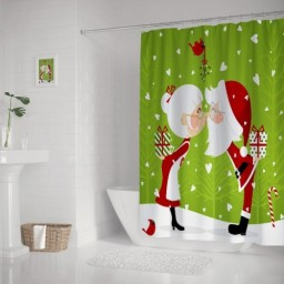 Father Christmas Lover Gift Pattern Waterproof Shower Curtain