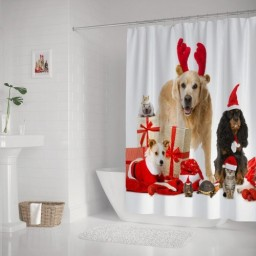 Cut Dog and Kitten Wish You Merry Christmas and Happy New Year for Bathroom Shower Curtain